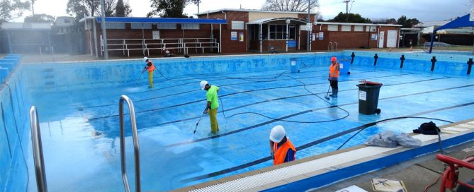 Pressure Cleaning Moruya Council Pool prior to painting