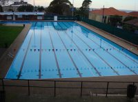 WAVERLEY-COLLEGE-OLYMPIC POOL filled painted with Luxapool s Epoxy Pacific Blue by master pool painter John Townsend