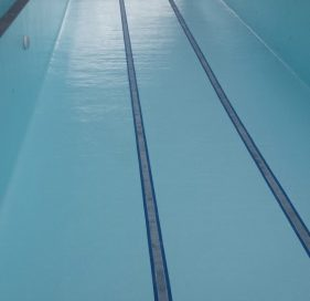 The completed 25 metre lap pool, painted with LUXAPOOL Epoxy pool coating in Crestwood colour