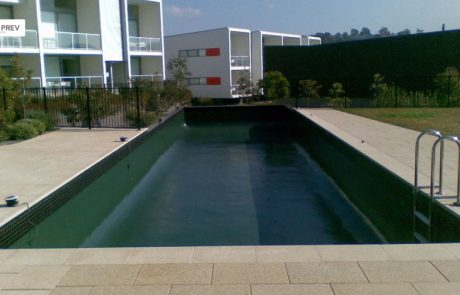 Pool painted with Luxapool pond green