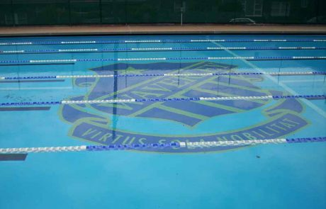 North Bondi olympic-size pool with water painted with Luxapool epoxy pacific blue