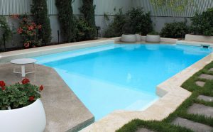 Resort pool painted with Luxapool epoxy white