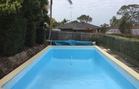 North Bondi pool without water painted with Luxapool epoxy pacific blue