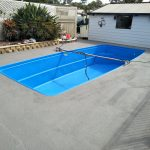Pool surrounds renovated over Pebblecrete with LUXAPOOL Poolside & Paving in Winter Brown