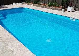 Residential pool painted in LUXAPOOL Epoxy Turquoise_colour by DIYer Timothy Grant NSW