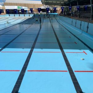 Whitlam Leisure Centre in Liverpool being resurfaced with LUXAPOOL Epoxy Pacific Blue