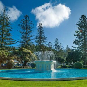 Tom Parker Fountain in Napier NZ painted with LUXAPOOL Epoxy Pacific Blue