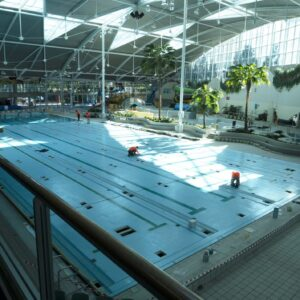 Sydney Olympic Park Aquatic Centre Training Pool being painted in LUXAPOOL Epoxy Pacific Blue